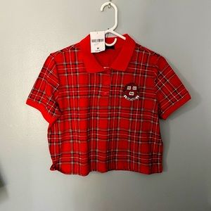 Forever 21 cropped tartan plaid shirt M
